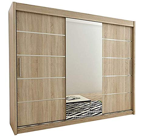 Kryspol Schwebetürenschrank Verona 2-250cm mit Spiegel Kleiderschrank mit Kleiderstange und Einlegeboden Schlafzimmer- Wohnzimmerschrank Schiebetüren Modern Design (Sonoma)