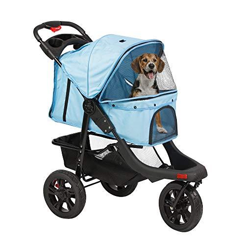 Koreyosh 3-Wheel pet Stroller, Foldable with Storage Basket, Wagon for Cats, Dogs, pet Babies