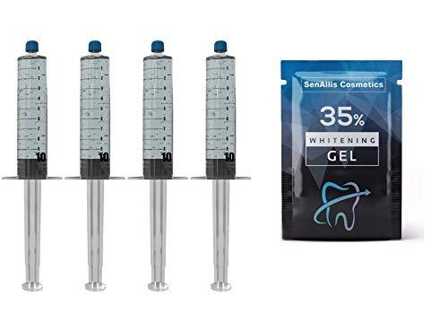 Four 10mL Syringes SenAllis Cosmetics Teeth Whitening Gel, 40mL 35% Gel Syringes, Fast & More Effective Than Teeth Whitening Strips, Refills Gel Compatible With Hi Smile Teeth Whitening Kit
