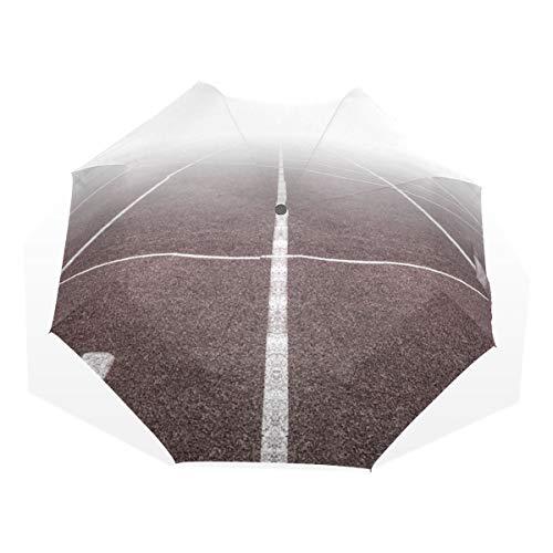 GUKENQ Paraguas de Viaje marrón y Blanco con Pista de Campo, Ligero, Anti Rayos UV, Paraguas de Lluvia para Hombres, Mujeres y niños, Paraguas Plegable Resistente al Viento y Compacto.