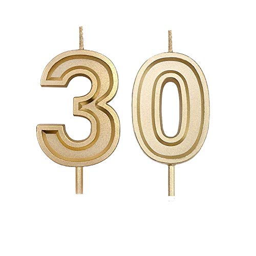 Bailym 30th Birthday Candles, Gold Number 30 Cake Topper for Birthday Decorations Party Decoration