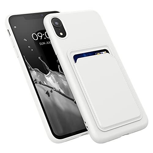 kwmobile Funda con Tarjetero Compatible con Apple iPhone XR - Carcasa Protectora de TPU Suave - Blanco