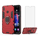 Phone Case for Huawei Honor 8X with Tempered Glass Screen Protector Cover and Magnetic Ring Holder Stand Kickstand Slim Hard Cell Accessories Huwai Honor8X X8 Hawaii Men Boys Women Girls Cases Red