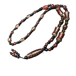 ZHIBO tibetischer natürlicher Achat Dzi Halskette für Herren und Damen, inkl. Zertifikat