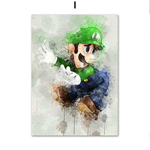 Japanisches Anime-Spiel Super Mario Bros Bowser Yoshi Cartoon Wandkunst Leinwand Malerei Poster und Drucke Wandbilder Baby Kinderzimmer Kinderzimmer Dekor 60 * 100cm