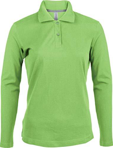 Kariban Damen Piqué Poloshirt Langarm - Lime, XL, Damen