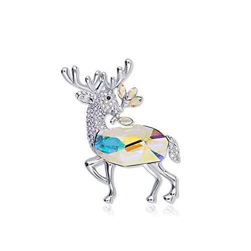 Broche alfileres Damas niñas Cristal Deer Broche Pin Pin Cardigan Cuello Temperamento Pines Bufandas Cierre Moda Joyería Joyería Broches Regalo for Esposa Broches y alfileres (Color : B)