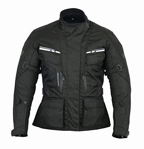 RS Chaqueta Moto Mujer Textil invierno Impermeable Con (CE) Protecciones (NEGRA, 3XL)