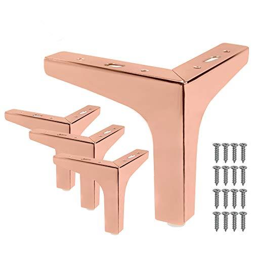 Seimneire 4 Stück 15,2 cm Möbelbeine, moderner Stil, Sofa-Beine, Metall, rotgoldfarben, Dreiecksfüße für Tisch, Schrank, Sofa, Couch, Stuhl