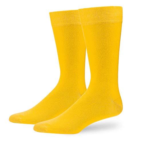NewwerX 4 Paar Bunte Socken Herren und Damen, Einfarbige Socken aus Baumwolle, hochwertiger Piqué-Komfortb& - OEKO-TEX Standard 100 (Gelb, 43-46)