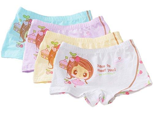 FAIRYRAIN FAIRYRAIN 4 Packung Baby Kleinkind Mädchen Niedlich Prinzessin Pantys Hipster Shorts Spitze Baumwollunterhosen Unterwäsche 2-3 Jahre