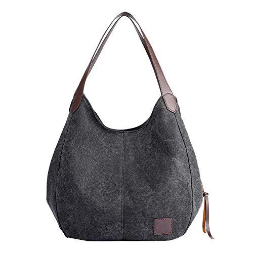 xiahe Bolso de mano para mujer, de lona sólida, bolso de hombro para mujer