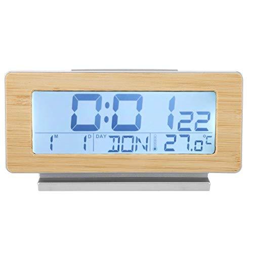 YLLN Reloj Despertador Digital 12/24H, Reloj Despertador con Calendario de Temperatura Interior de cáscara de Grano de Madera con repetición