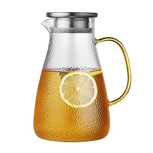 Jarra de agua de vidrio de 1.8 litros / 63 oz con tapa de colador de acero inoxidable jarra de agua para té helado vino café jugo de leche (Color : Translucent, Size : 13.3×23cm)