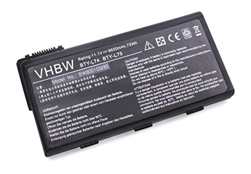 Batterie LI-ION 6600mAh 11.1V pour MSI CR700-204BE etc. Remplace 957-173XXP-102, BTY-L74, BTY-L75, MS-1682, S9N-2062210-M47 etc.