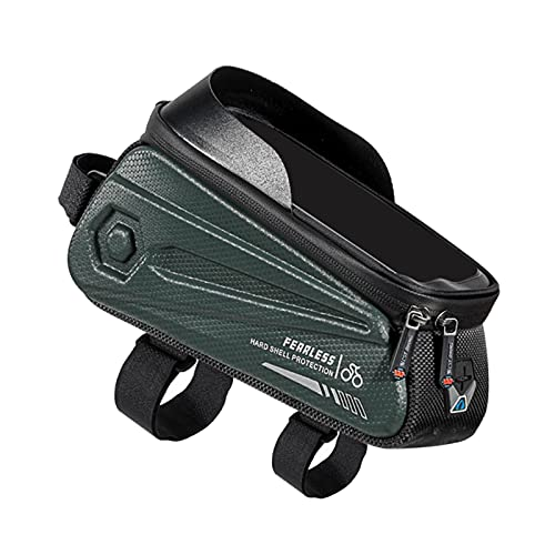 SM SunniMix Bolsa para Cuadro de Bicicleta de Carretera de montaña, Bolsa Impermeable para Bicicleta, Bolsa para teléfono con Pantalla táctil y Tubo Superior - Verde
