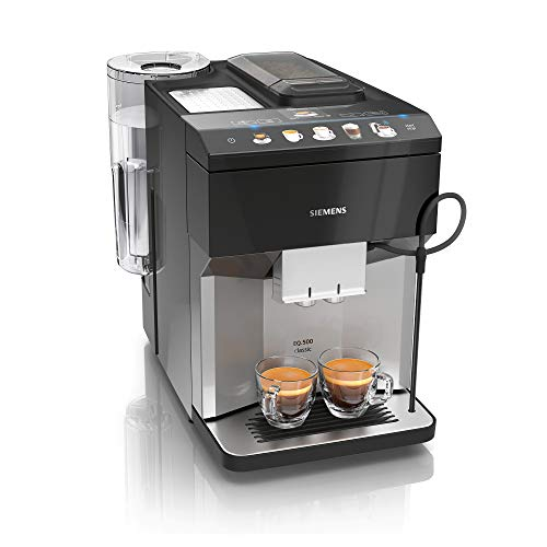 Siemens EQ.500 Classic TP507DX4 - Macchina da caffè automatica, facile da usare, compatibile con Alexa, due tazze contemporaneamente, 1.500 Watt, colore: Grigio