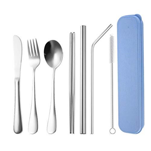 Set di 7 posate in acciaio inox (incluso coltello forchetta e cucchiaio) lucidate a specchio set di posate portatile adatto per casa/ufficio/festa/viaggio/argento