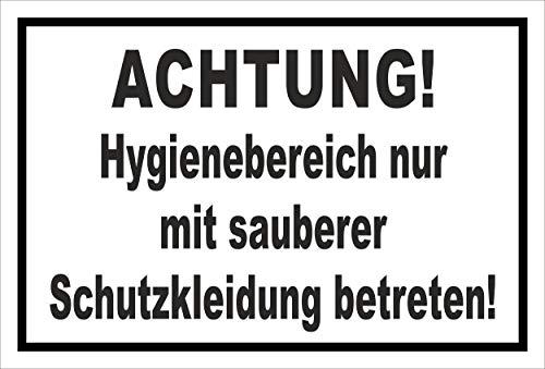 Melis Folienwerkstatt Schild Hygienebereich - 15x10cm - 3mm Hartschaum – 20 VAR S00225-009-A