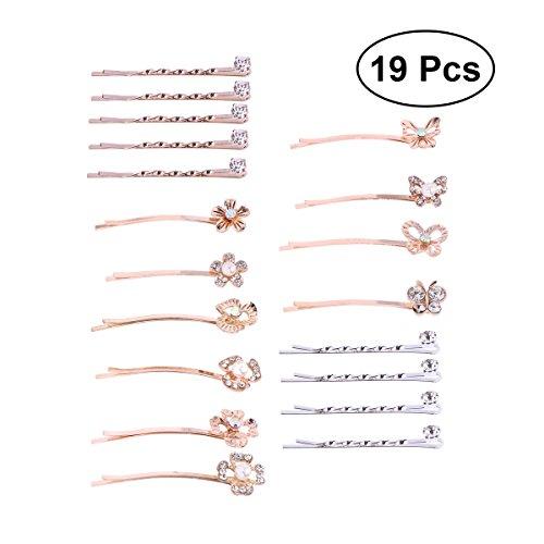 Frcolor Verziert Bobby Pins, Strass Perle Blume Haar Pin Haarspange für Frauen Mädchen (19Pcs, Zufällige Muster)