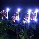 YUyankejiYX Paquete de 4 luces de bandera británica con energía solar, luces de paisaje, luces de paisaje, lámpara de césped, decoración al aire libre para jardín y patio
