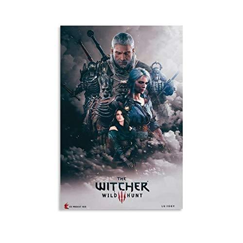 YZLI The Witcher 3 Wild Hunt Poster décoratif sur toile pour salon, chambre à coucher 30 x 45 cm