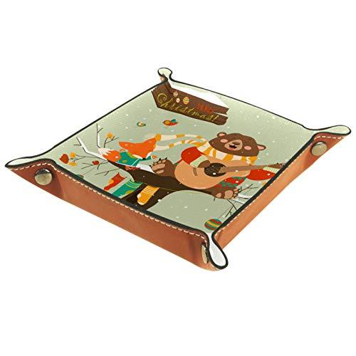 YATELI Caja de Almacenamiento pequeña, Bandeja de Valet para Hombre,Lindo Oso pequeño Zorro Navidad,Organizador de Cuero para Llaves de Caja de Monedas