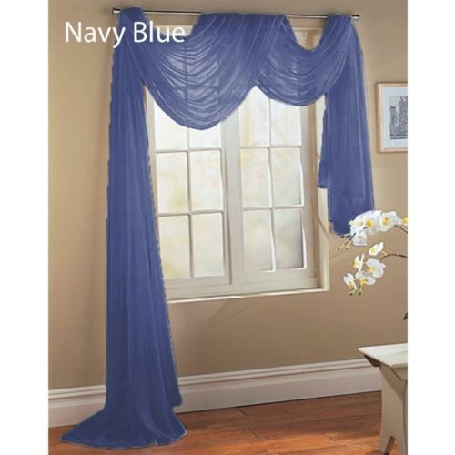 Gorgeous Home 1 PC Solid Navy Blue Scarf Valance Soft Sheer Voile Window Panel Curtain 216' Long Topper Swag