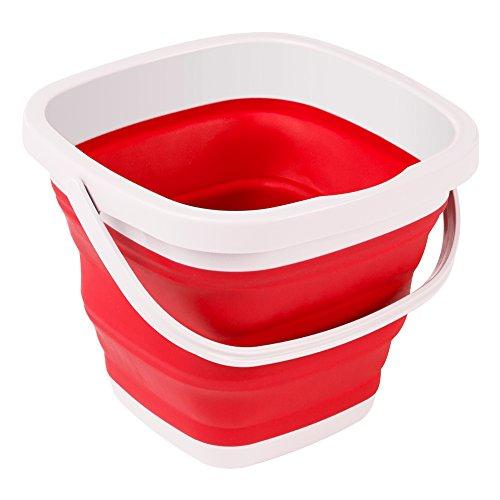 Aktive - Cubo plegable rojo y blanco, 24 x 24 x 20 cm, 5 litros (16378)