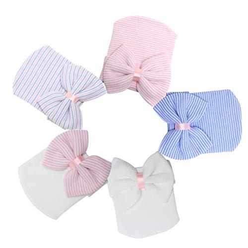 NUOBESTY cappello a cuffia con fiocco, grande cappello all'uncinetto lavorato a maglia berretto per neonato neonato blu colorato bianco rosa bianco cappello rosa fotografia prop - 5 pezzi