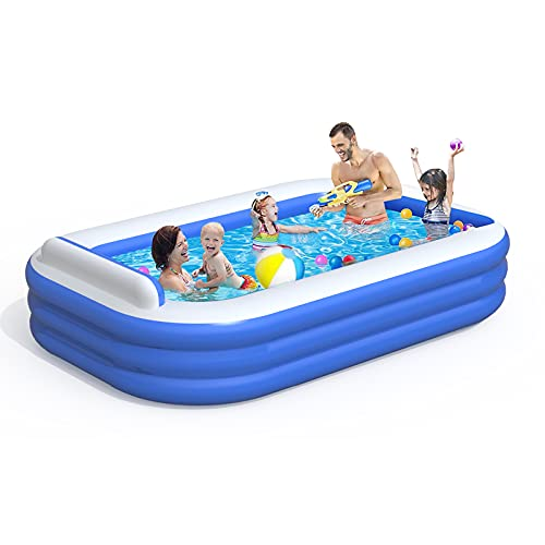 """ADDOK Inflatable Swimming Pool with Seat, Full-Sized Kiddie Pools Above Ground, Blow up Lounge Pool for Backyard, Garden, Party(102""""x68""""x20"""")"""