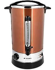 Navaris glühweinkooktoestel heetwaterdispenser van roestvrij staal - 6,8 l - met thermostaat vulstandindicator tapkraan - glühwein hete drankautomaat rood