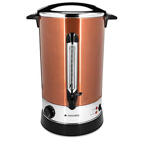 Navaris Hervidor de agua eléctrico de 15L con grifo - Dispensador bebidas calientes con termostato - Olla eléctrica para té café y vino - Cobre