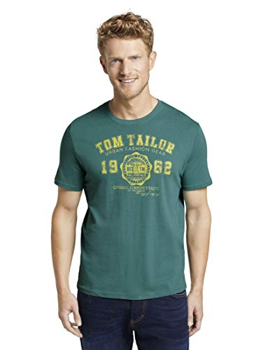 TOM TAILOR Herren T-Shirts/Tops T-Shirt mit Logo-Print Ever Green,M