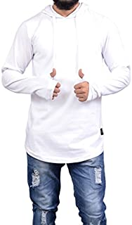 Roden Men's Solid Hooded Thumb Hole T-Shirt