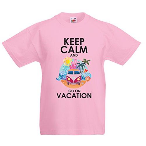 Kinder T-Shirt Gehen Sie auf Urlaub, Nette Outfits, Strandkleidung, Resortabnutzung (5-6 Years Pink Mehrfarben)