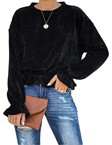 Ruffle Top,Women Fall Balloon Sleeve Crew Neck Pullover Tops Black,Small