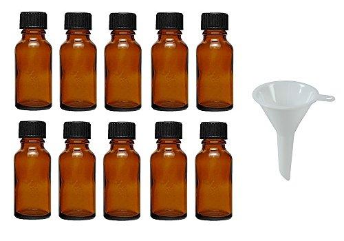 10 Tropfflaschen/Apothekerflaschen in Braunglas 20 ml inkl. Tropfeinsatz
