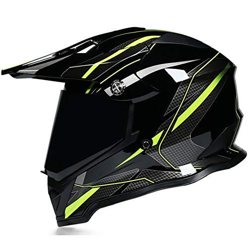 Casco Motocross Integrali,Motociclista Caschi Adulti per Bici MTB Fuoristrada Enduro con Lente,Universale per Tutte Le Stagioni,Giallo,M