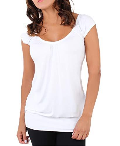 KRISP Mujer Camiseta Larga Básica Manga Corta 7604-WHT-08