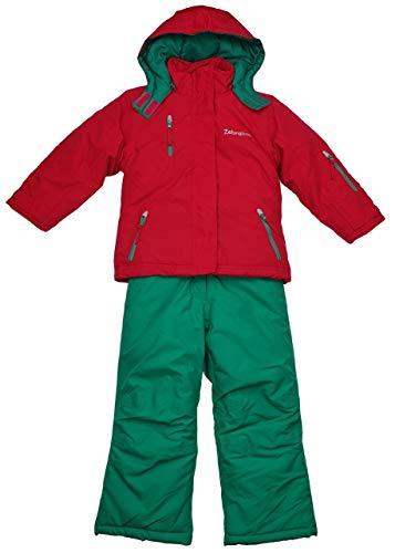Girls Fashion Kinder Skianzug Schneeanzug 2tlg. Jacke + Hose in Rot/Grün, Gr. 104