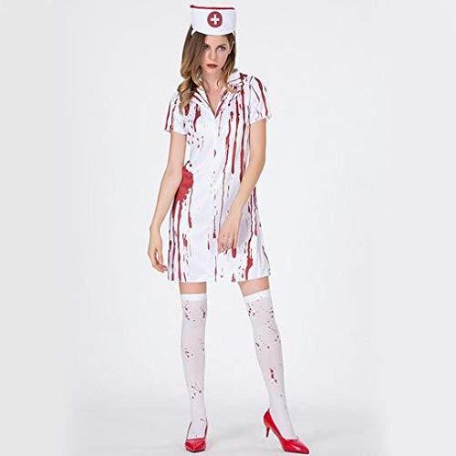 YyiHan Cosplay Disfraz, Manchas de Sangre Grises Mancha de Sangre Enfermeras Enfermeras Fantasma de Maquillaje Juego Uniformes Cosplay Disfraces de Halloween Funcionamiento de los Trajes de la etap