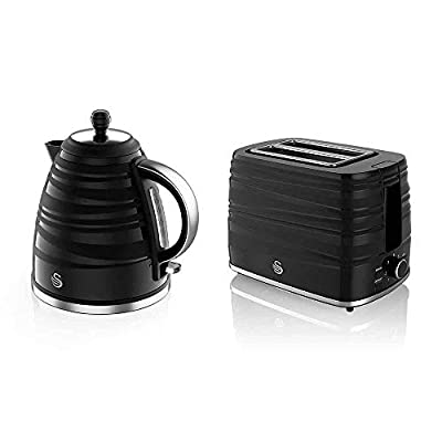 Swan Symphony Kettle and 2 Slice Toaster Bundle, Jug Kettle Features A 360 Degree Rotational Base, 3000 Watts, Toaster Features 930 Watts, High Gloss and Matt Finish