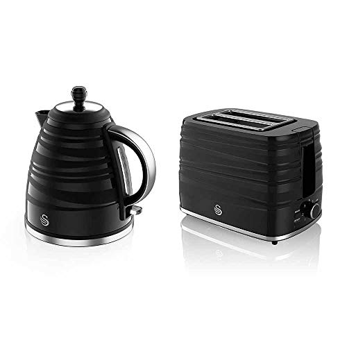 Swan, STP3050BN Symphony Kettle and 2 Slice Toaster Bundle, Jug Kettle Features A 360 Degree Rotational Base, 3000 Watts, Toaster Features 930 Watts, High Gloss and Matt Finish, Black