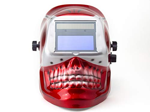 VCT MIG/TIG Auto Darkening Welding Helmet Solar & Battery -Red Skull Shape Design Extra Large Lens
