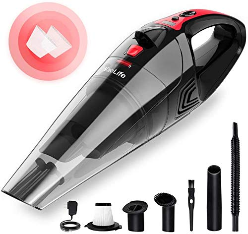 VacLife Handheld Vacuum, Hand Vacuum Cordless with High Power, Mini Vacuum Cleaner Handheld Powered by Li-ion Battery Rechargeable Quick Charge Tech, for Home and Car Cleaning - Red (VL106)