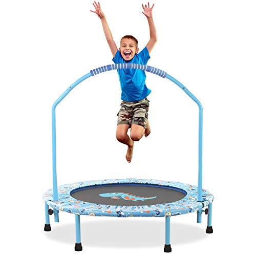 """LBLA 38"""" Mini Trampoline for Kids 3-10 Adjustable Handrail and Safety Padded Cover Bungee Rebounder Foldable Trampoline Indoor/Outdoor (Blue)"""
