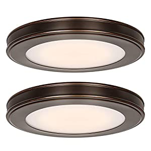 Hykolity 13 inch Flush Mount Ceiling Light, 3000K/4000K/5000K CCT, 20W [180W Equiv.] 1365LM CRI90, Surface Mount LED Light Fixture with Oil Rubbed Bronze for Kitchen Bedroom, ETL Listed - 2 Pack