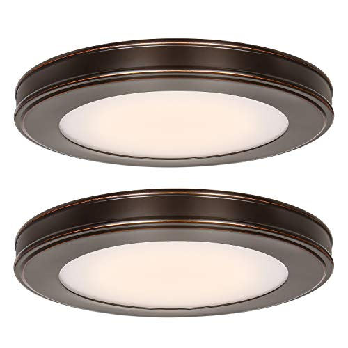 13 inch Flush Mount Ceiling Light, 3000K/4000K/5000K CCT, 20W [180W Equiv.] 1365LM CRI90, Surface Mount LED Light Fixture with Oil Rubbed Bronze for Kitchen Bathroom Bedroom, ETL Listed - 2 Pack