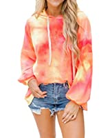 Dressmine Women's Hooded Tie Dye Sweatshirt Casual Long Sleeve Tops Pullover Hoodie Orange X-Large